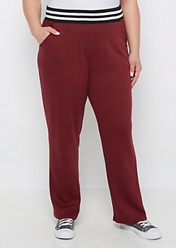 Plus Burgundy Relaxed Sweatpant