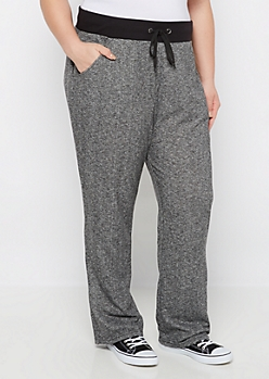 Plus Marled Black Relaxed Sweatpant