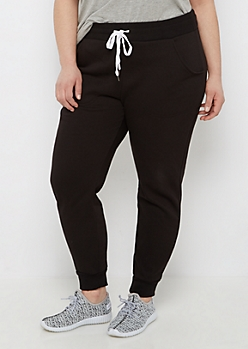 Plus Black Soft Knit Fleece Jogger