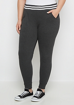 Plus Charcoal Double Striped Jogger