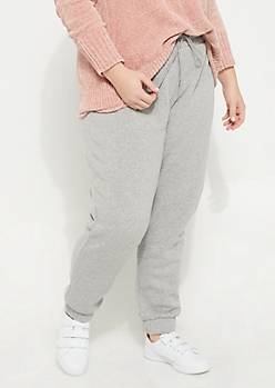 Plus Gray Fleece High Waist Joggers