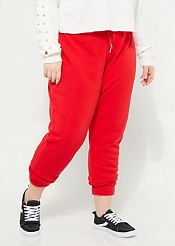 Plus Red Fleece High Waist Joggers