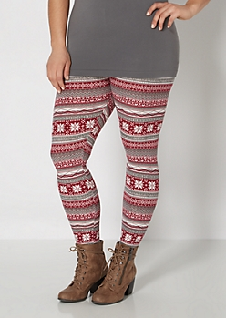 Plus Snowflake Brushed Legging