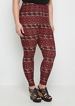 Plus Marching Elephant Soft Knit Legging