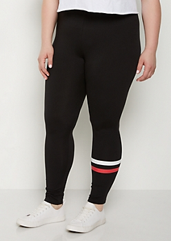 Plus Red Stripe High Rise Soft Knit Legging