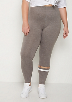 Plus Gold Stripe High Rise Soft Knit Legging