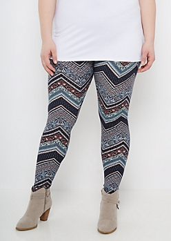 Plus Chevron Folklore Soft Knit Legging