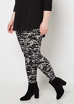 Plus Paint Splattered Soft Brushed Legging