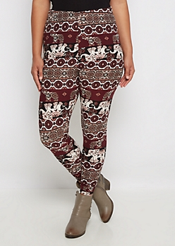 Plus Burgundy Medallion Soft Knit Legging