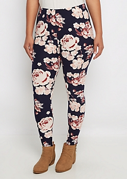Plus Navy Rose Soft Knit Legging