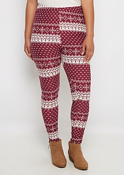 Plus Burgundy Fair Isle Soft Knit Legging