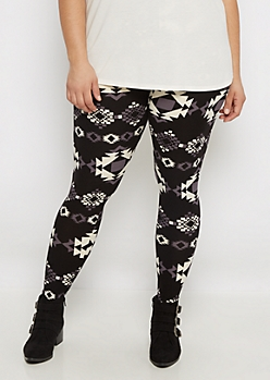 Plus Mod Geo Aztec Brushed Legging