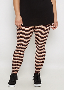 Plus Tri-Tone Geo Chevron Brushed Legging