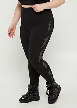 Plus Black Foiled Lightening High Rise Legging