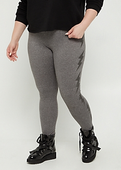 Plus Gray Foiled Lightening High Rise Legging