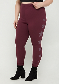 Plus Plum Foiled Star High Rise Legging