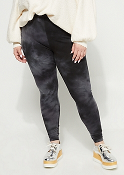 Plus Black Vintage Wash High Rise Legging