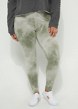 Plus Olive Vintage Wash High Rise Legging