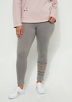 Plus Foiled Stripes High Rise Legging