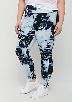 Plus Blue Tie Dye Lattice High Rise Legging