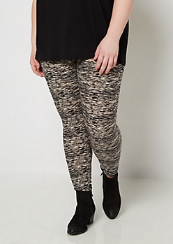 Plus Black Space Dye Soft Knit Legging