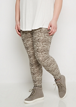 Plus Gray Space Dye Soft Knit Legging
