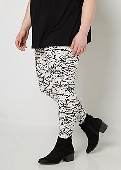 Plus Paint Splattered Soft Knit Legging
