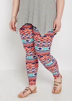 Plus Red Aztec Striped Super Soft Legging