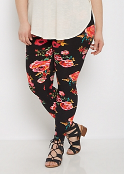Plus Red Wildflower Soft Knit Legging