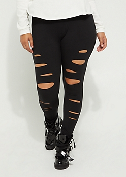 Plus Black Slashed High Rise Soft Brushed Legging