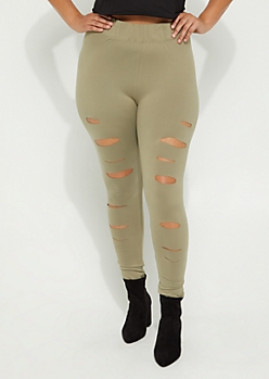 Plus Olive Slashed High Rise Soft Brushed Legging