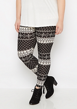 Plus Digital Fair Isle Brushed Legging