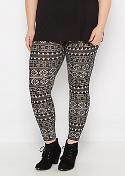 Plus Snowflake Fair Isle Brushed Legging