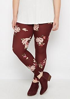 Plus Purple Vintage Rose Brushed Legging