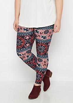 Plus Boho Elephant Brushed Legging