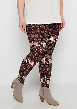 Plus Dark Purple Elephant Henna Leggings