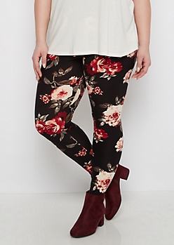 Plus Black Large Floral Print Leggings