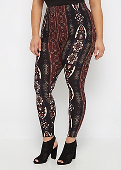 Plus Vertical Folk Print Brushed Legging