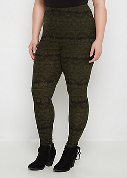 Plus Olive Elephant Print Brushed Legging