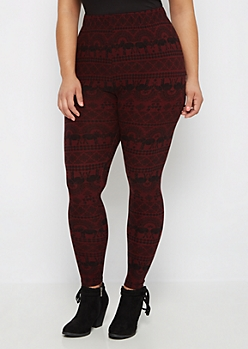 Plus Burgundy Elephant Print Brushed Legging