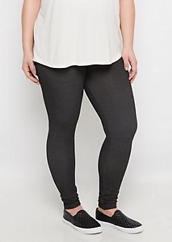 Plus Marled Black Soft Legging