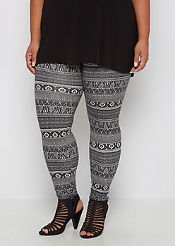 Plus Geo Tribal Soft Knit Legging