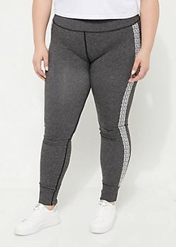 Plus Charcoal Gray Marled Chevron Knit Seamless Leggings