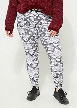 Plus Gray Aztec High Rise Leggings