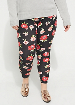 Plus Floral Soft Brushed Legging