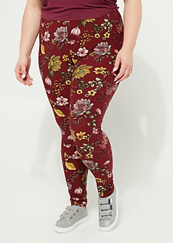 Plus Burgundy Floral Soft Brushed Legging