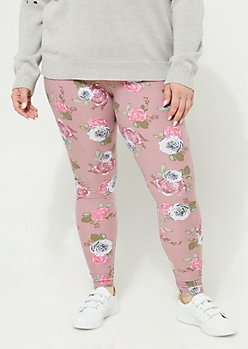 Plus Pink & Green Rose Soft Brushed Legging