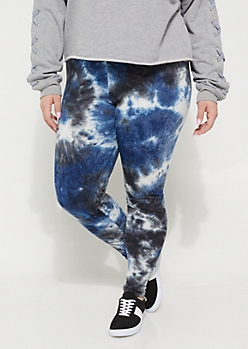 Plus Navy Tie Dye Soft Knit Leggings