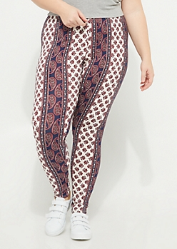 Plus White Paisley Floral Soft Brushed Legging