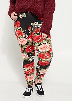 Plus Red Rose Soft Brushed Leggings